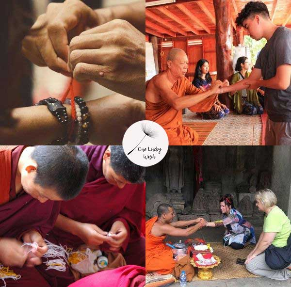 Buddhism Yogis making and tying red string bracelets to followers.