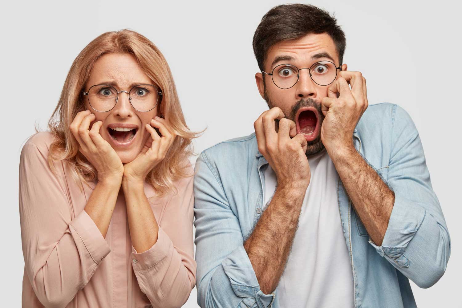 A Man and Woman with Horrified Reaction